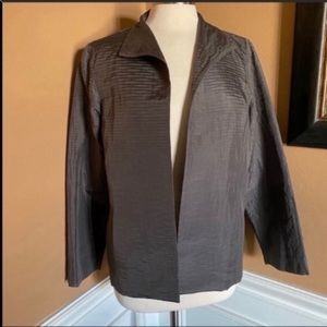 Eileen Fisher Jacquard wave silk jacket taupe M